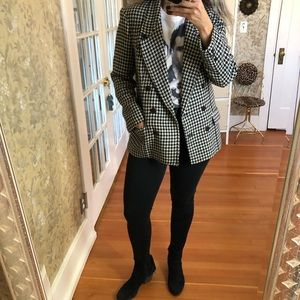 Double Breasted Houndstooth Boyfriend Blazer Coat